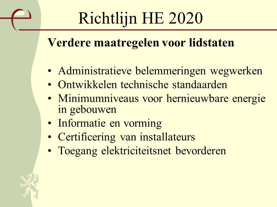 Richtlijn HE 2020 Verdere maatregelen voor lidstaten Administratieve belemmeringen wegwerken Ontwikkelen technische standaarden Minimumniveaus voor hernieuwbare energie in gebouwen Informatie en vorming Certificering van installateurs Toegang elektriciteitsnet bevorderen