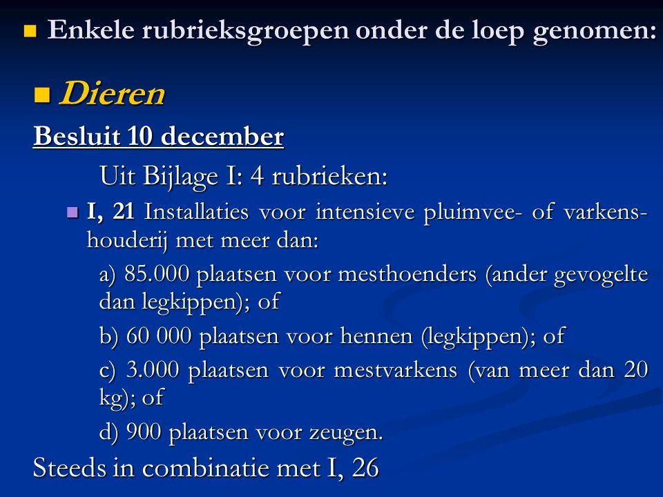 Dieren Dieren Besluit 10 december Uit Bijlage I: 4 rubrieken: I, 21 Installaties voor intensieve pluimvee- of varkens- houderij met meer dan: I, 21 In