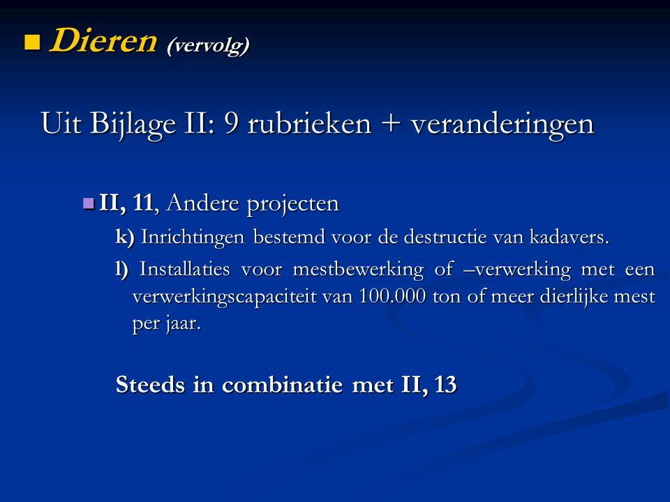 Uit Bijlage II: 9 rubrieken + veranderingen II, 11, Andere projecten II, 11, Andere projecten k) Inrichtingen bestemd voor de destructie van kadavers.