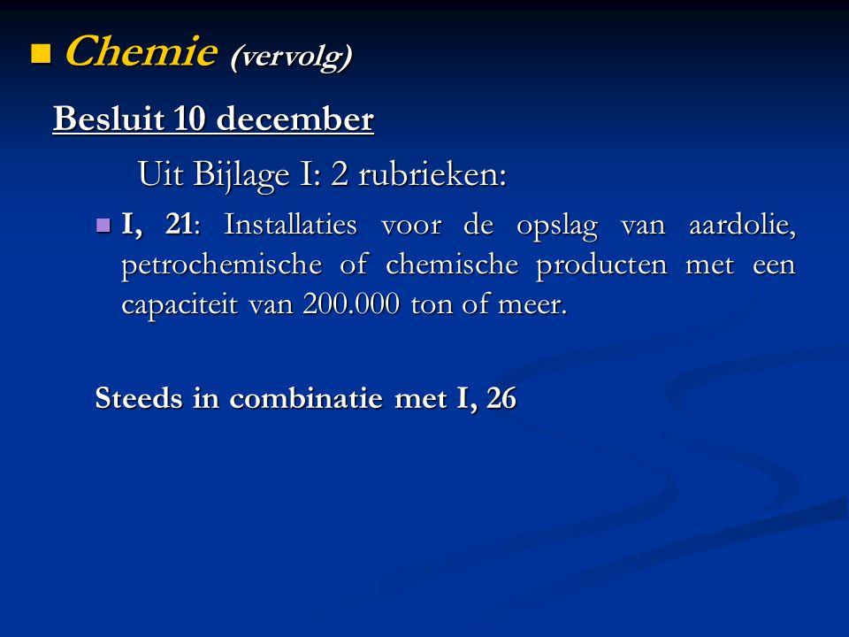 Besluit 10 december Uit Bijlage I: 2 rubrieken: I, 21: Installaties voor de opslag van aardolie, petrochemische of chemische producten met een capaciteit van 200.000 ton of meer.