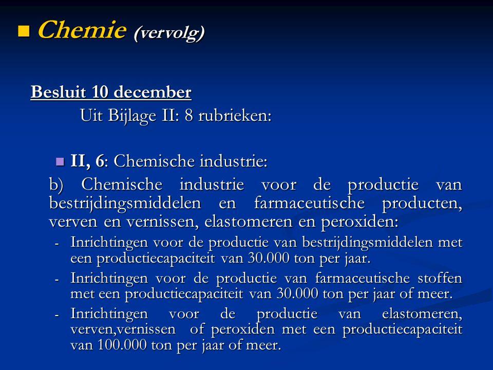 Besluit 10 december Uit Bijlage II: 8 rubrieken: II, 6: Chemische industrie: II, 6: Chemische industrie: b) Chemische industrie voor de productie van bestrijdingsmiddelen en farmaceutische producten, verven en vernissen, elastomeren en peroxiden: - Inrichtingen voor de productie van bestrijdingsmiddelen met een productiecapaciteit van 30.000 ton per jaar.