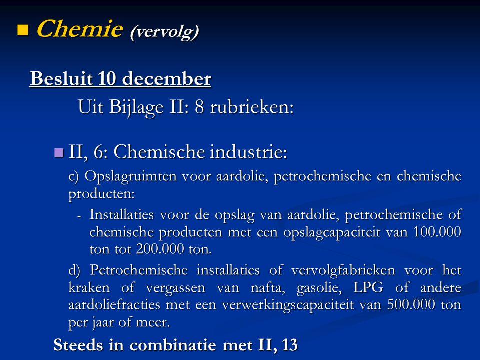 Besluit 10 december Uit Bijlage II: 8 rubrieken: II, 6: Chemische industrie: II, 6: Chemische industrie: c) Opslagruimten voor aardolie, petrochemisch