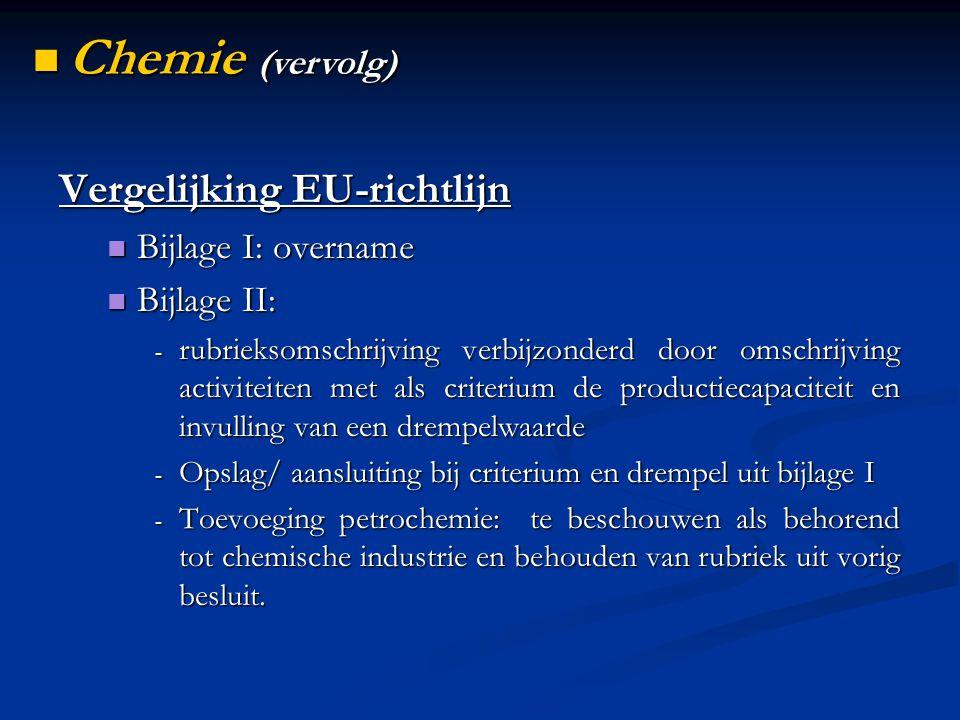 Vergelijking EU-richtlijn Bijlage I: overname Bijlage I: overname Bijlage II: Bijlage II: - rubrieksomschrijving verbijzonderd door omschrijving activiteiten met als criterium de productiecapaciteit en invulling van een drempelwaarde - Opslag/ aansluiting bij criterium en drempel uit bijlage I - Toevoeging petrochemie: te beschouwen als behorend tot chemische industrie en behouden van rubriek uit vorig besluit.