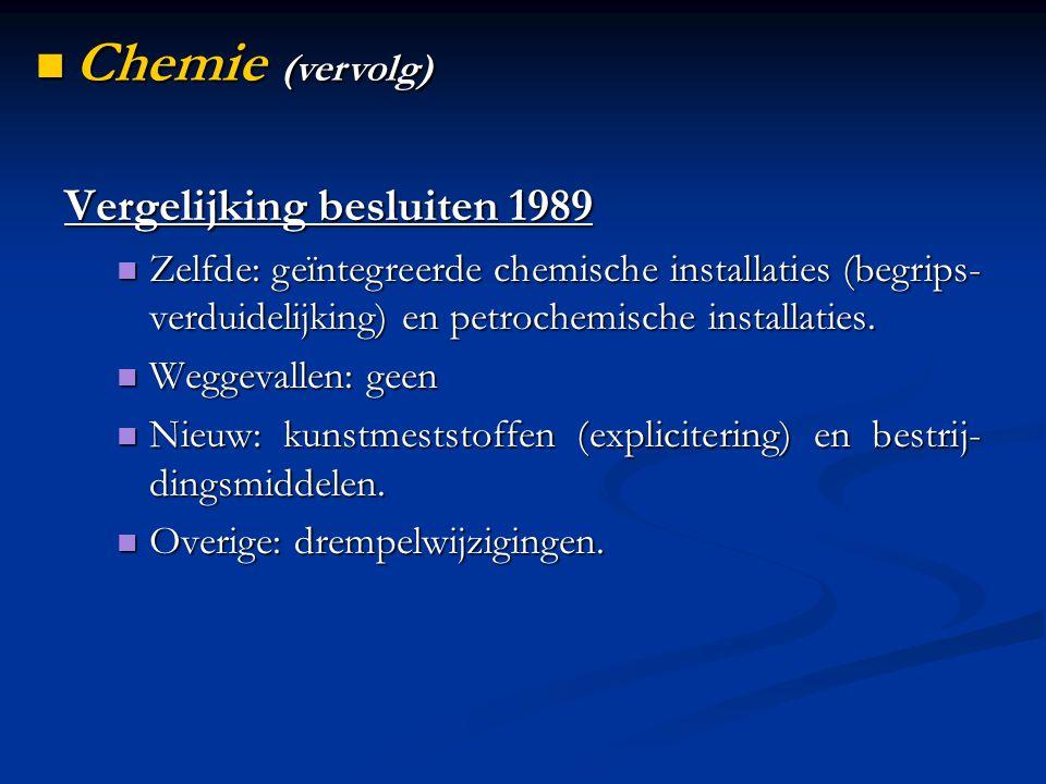 Vergelijking besluiten 1989 Zelfde: geïntegreerde chemische installaties (begrips- verduidelijking) en petrochemische installaties. Zelfde: geïntegree