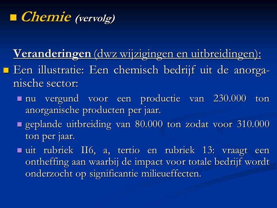 Veranderingen (dwz wijzigingen en uitbreidingen): Een illustratie: Een chemisch bedrijf uit de anorga- nische sector: Een illustratie: Een chemisch bedrijf uit de anorga- nische sector: nu vergund voor een productie van 230.000 ton anorganische producten per jaar.