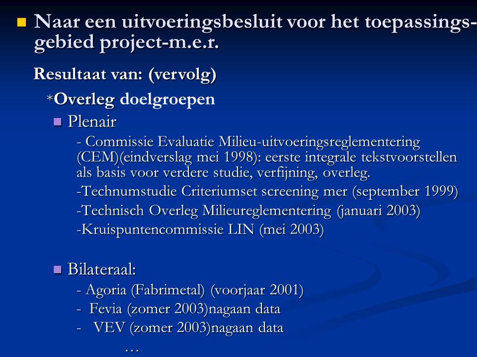 * Overleg * Overleg doelgroepen Plenair Plenair - Commissie Evaluatie Milieu-uitvoeringsreglementering (CEM)(eindverslag mei 1998): eerste integrale tekstvoorstellen als basis voor verdere studie, verfijning, overleg.