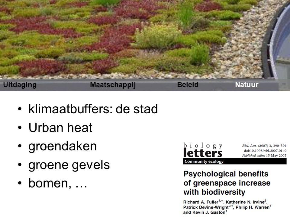 klimaatbuffers: de stad Urban heat groendaken groene gevels bomen, … Uitdaging MaatschappijBeleidNatuur