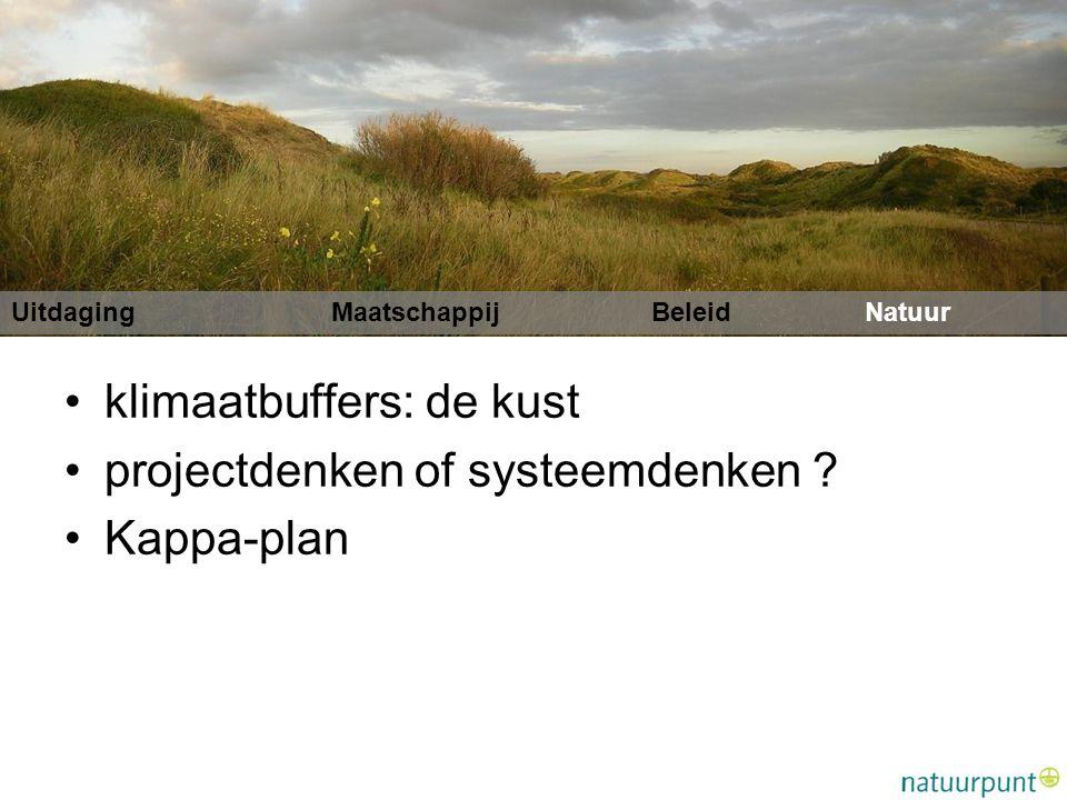 Uitdaging MaatschappijBeleidNatuur klimaatbuffers: de kust projectdenken of systeemdenken .