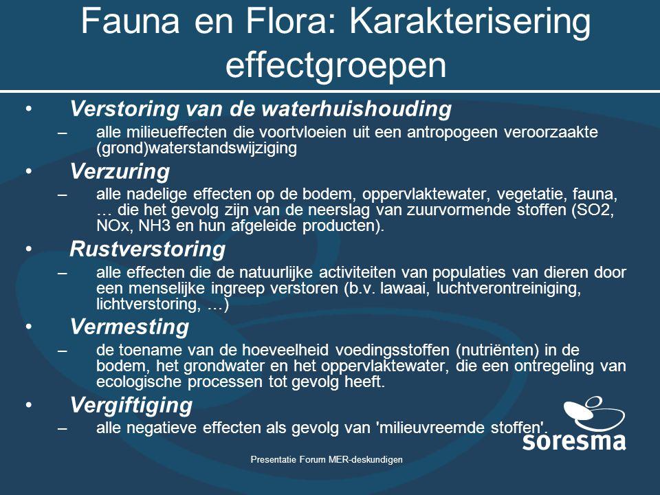Presentatie Forum MER-deskundigen Fauna en Flora: Karakterisering effectgroepen Verstoring van de waterhuishouding –alle milieueffecten die voortvloei