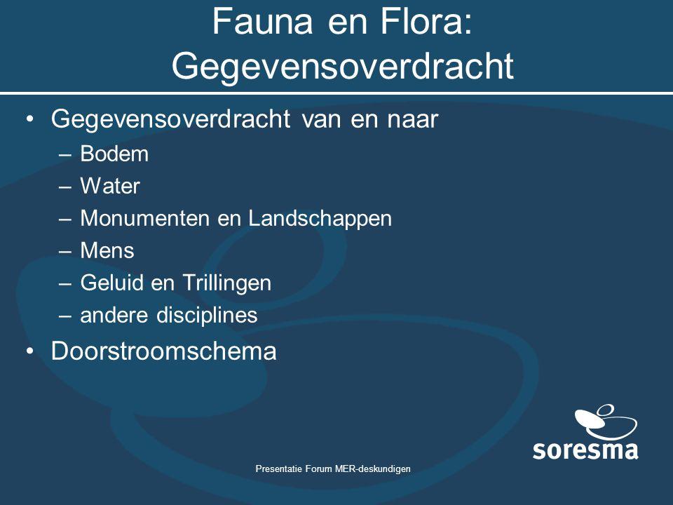 Presentatie Forum MER-deskundigen Fauna en Flora: Gegevensoverdracht Gegevensoverdracht van en naar –Bodem –Water –Monumenten en Landschappen –Mens –G