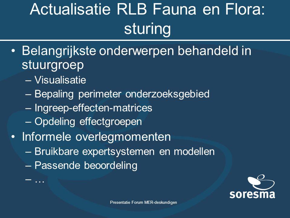 Presentatie Forum MER-deskundigen Actualisatie RLB Fauna en Flora: sturing Belangrijkste onderwerpen behandeld in stuurgroep –Visualisatie –Bepaling p