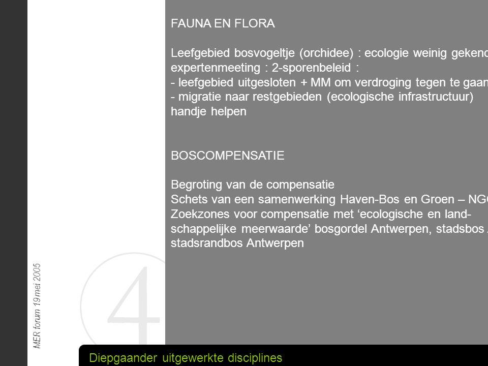 4 MER forum 19 mei 2005 FAUNA EN FLORA Leefgebied bosvogeltje (orchidee) : ecologie weinig gekend : expertenmeeting : 2-sporenbeleid : - leefgebied ui