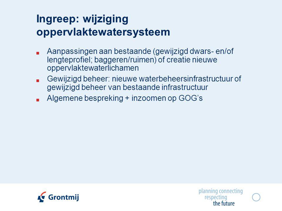 Ingreep: wijziging oppervlaktewatersysteem  Aanpassingen aan bestaande (gewijzigd dwars- en/of lengteprofiel; baggeren/ruimen) of creatie nieuwe oppervlaktewaterlichamen  Gewijzigd beheer: nieuwe waterbeheersinfrastructuur of gewijzigd beheer van bestaande infrastructuur  Algemene bespreking + inzoomen op GOG's