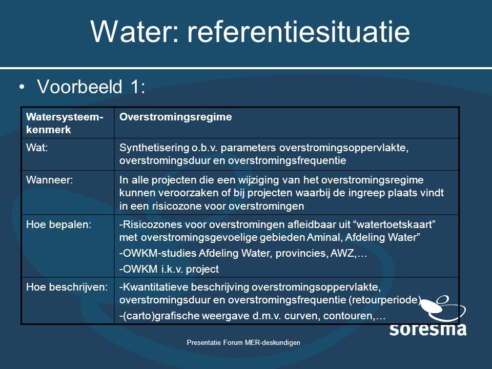 Presentatie Forum MER-deskundigen Water: referentiesituatie Voorbeeld 1: Watersysteem- kenmerk Overstromingsregime Wat:Synthetisering o.b.v. parameter