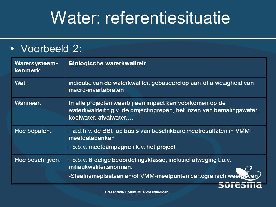 Presentatie Forum MER-deskundigen Water: referentiesituatie Voorbeeld 2: Watersysteem- kenmerk Biologische waterkwaliteit Wat:indicatie van de waterkw