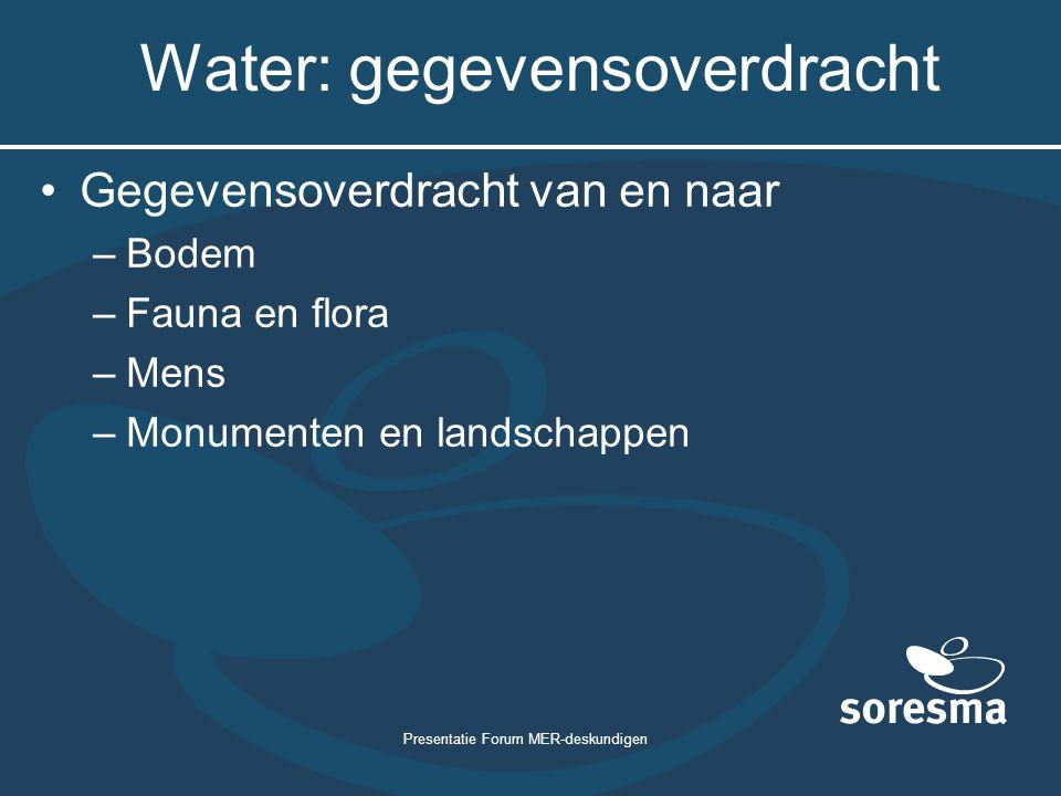 Presentatie Forum MER-deskundigen Water: gegevensoverdracht Gegevensoverdracht van en naar –Bodem –Fauna en flora –Mens –Monumenten en landschappen