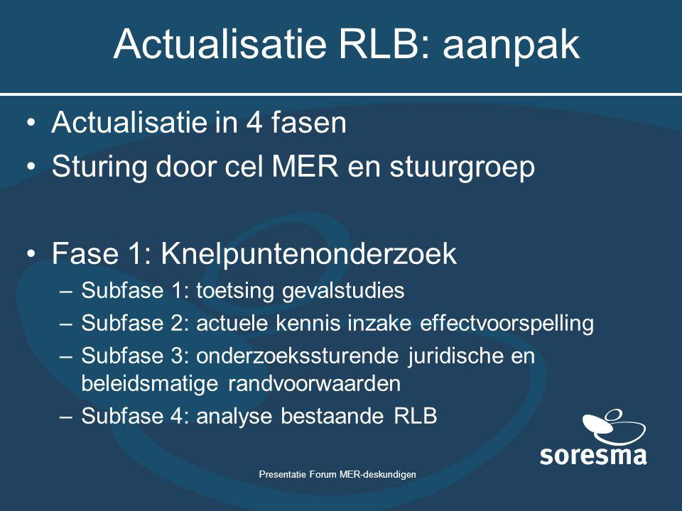 Presentatie Forum MER-deskundigen Actualisatie RLB: aanpak Actualisatie in 4 fasen Sturing door cel MER en stuurgroep Fase 1: Knelpuntenonderzoek –Sub