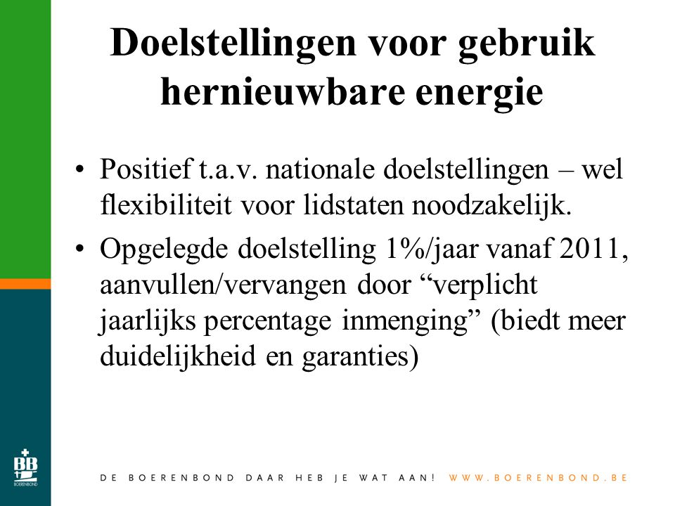 Doelstellingen voor gebruik hernieuwbare energie Positief t.a.v.