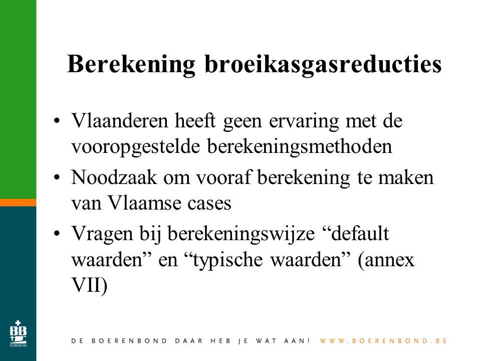 Berekening broeikasgasreducties Vlaanderen heeft geen ervaring met de vooropgestelde berekeningsmethoden Noodzaak om vooraf berekening te maken van Vlaamse cases Vragen bij berekeningswijze default waarden en typische waarden (annex VII)