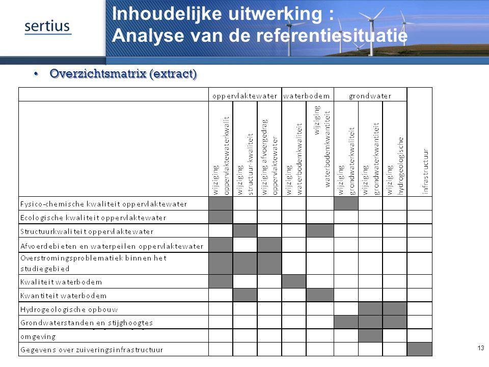 Inhoudelijke uitwerking : Analyse van de referentiesituatie 13 Overzichtsmatrix (extract)Overzichtsmatrix (extract)