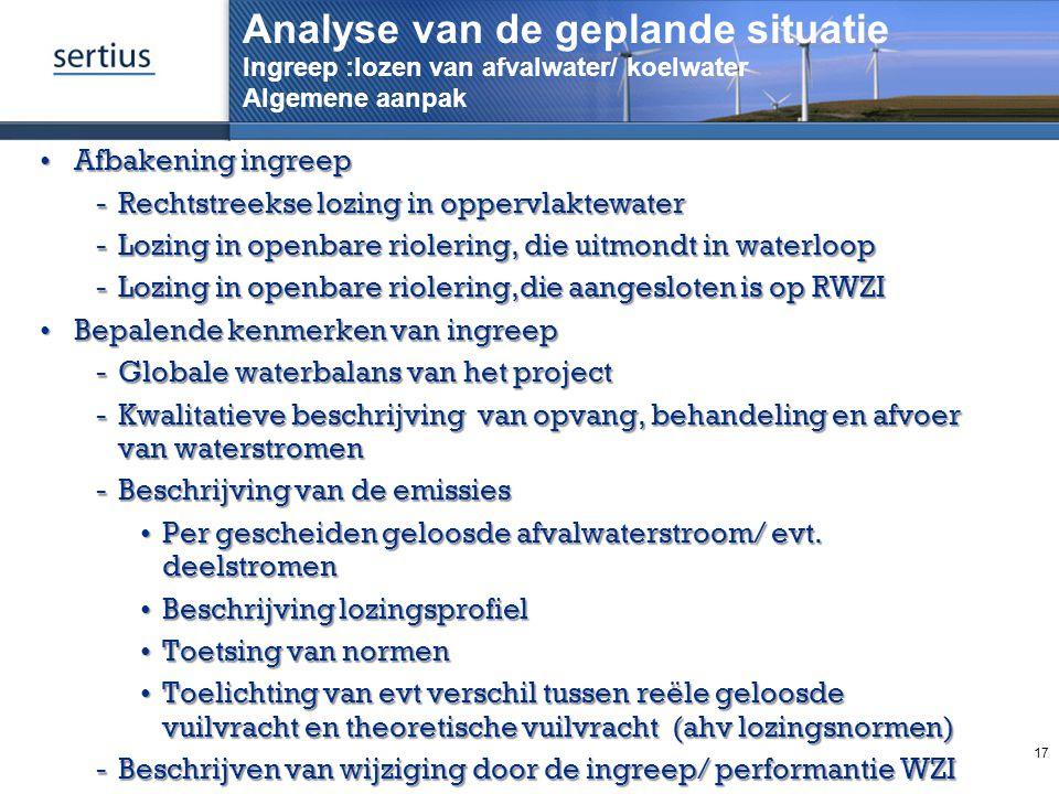Analyse van de geplande situatie Ingreep :lozen van afvalwater/ koelwater Algemene aanpak Afbakening ingreepAfbakening ingreep Rechtstreekse lozing i