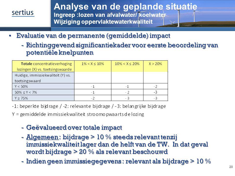 Analyse van de geplande situatie Ingreep :lozen van afvalwater/ koelwater Wijziging oppervlaktewaterkwaliteit Evaluatie van de permanente (gemiddelde)