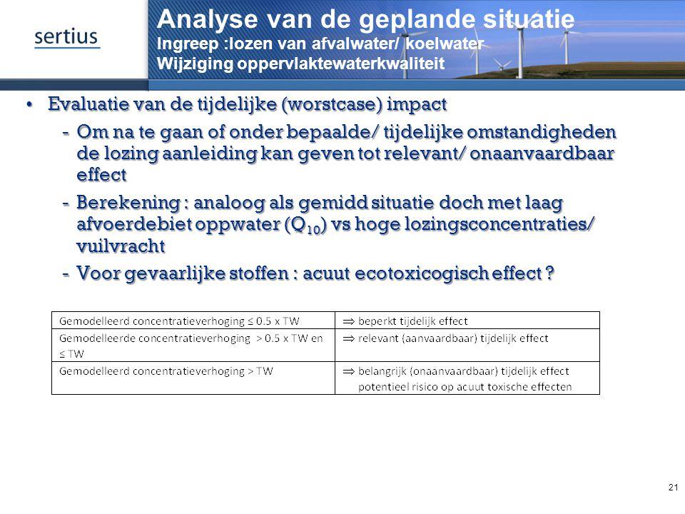 Analyse van de geplande situatie Ingreep :lozen van afvalwater/ koelwater Wijziging oppervlaktewaterkwaliteit Evaluatie van de tijdelijke (worstcase)