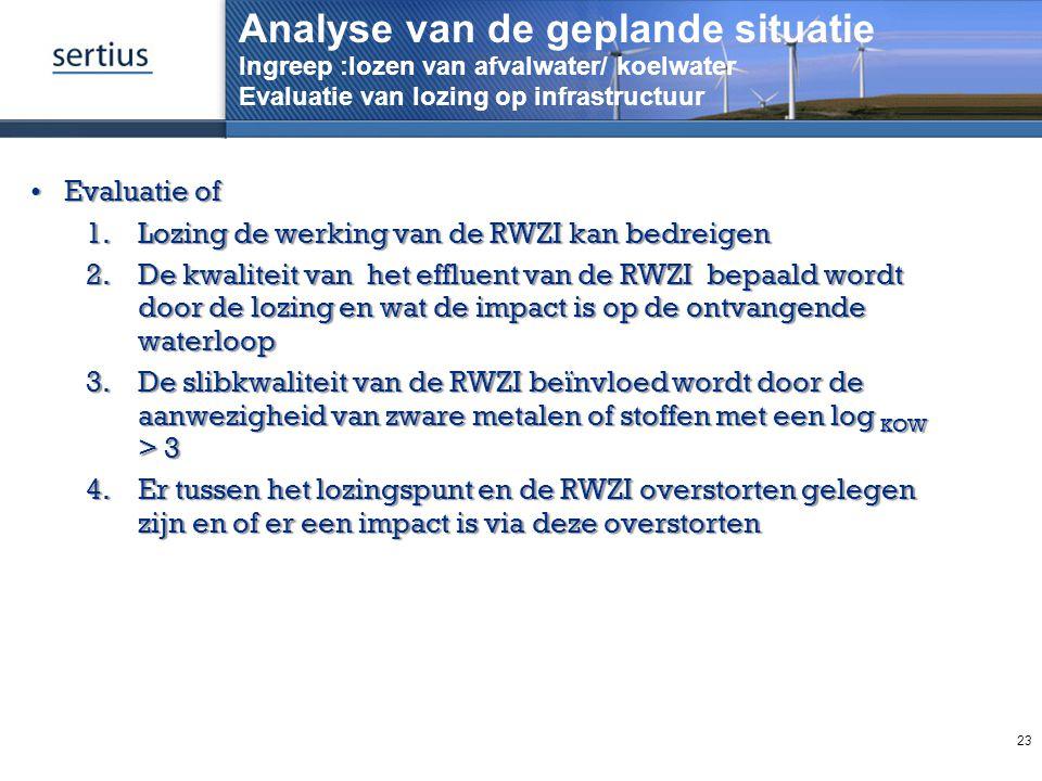 Analyse van de geplande situatie Ingreep :lozen van afvalwater/ koelwater Evaluatie van lozing op infrastructuur Evaluatie ofEvaluatie of 1.Lozing de