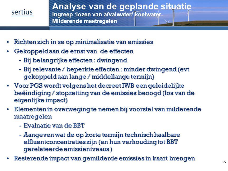 Analyse van de geplande situatie Ingreep :lozen van afvalwater/ koelwater Milderende maatregelen Richten zich in se op minimalisatie van emissiesRicht