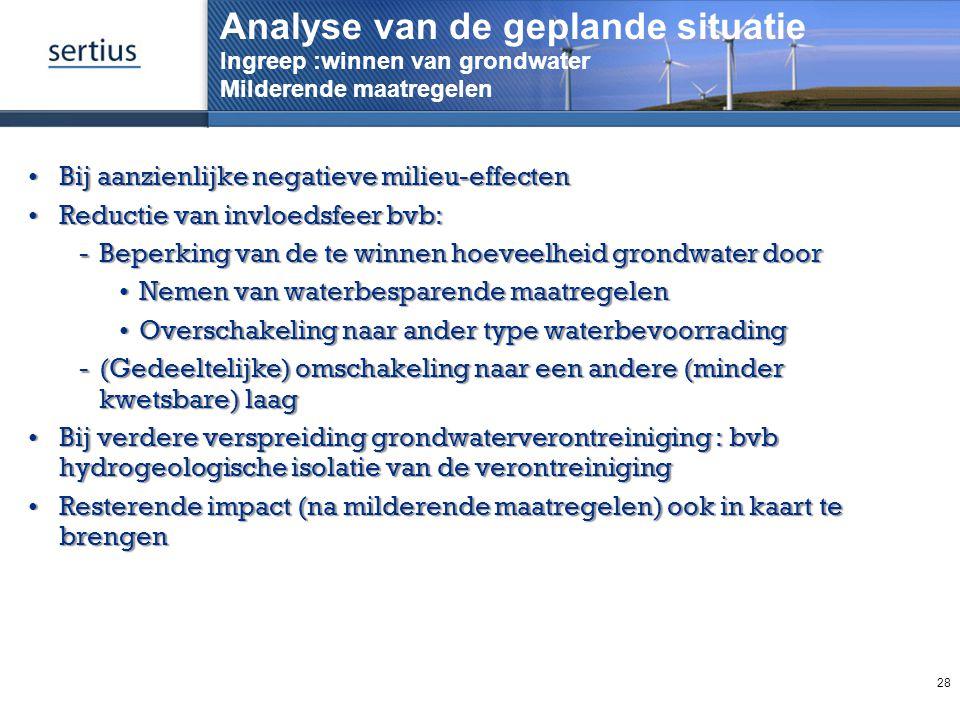 Analyse van de geplande situatie Ingreep :winnen van grondwater Milderende maatregelen Bij aanzienlijke negatieve milieu-effectenBij aanzienlijke nega