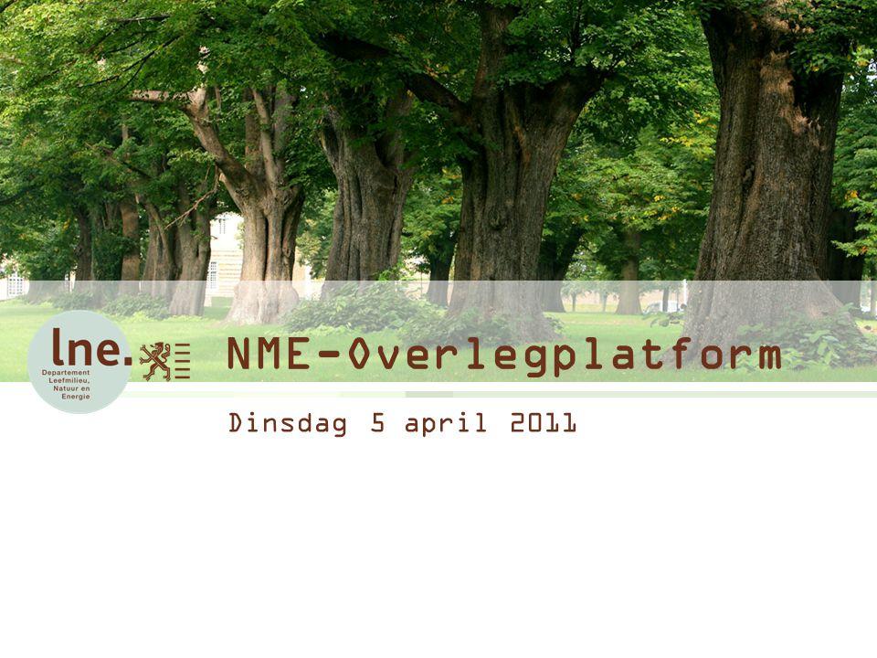NME-Overlegplatform Dinsdag 5 april 2011 Aanzet/insteek Vlaamse NME-dag 2012 Praktisch -Datum: Dinsdag 14 februari 2012 -Locatie: Brussel (Boudewijngebouw) – opties genomen -Nadelen: internet / elektriciteit -Voordelen: centraal / budgetvriendelijk.