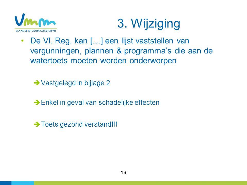 16 De Vl. Reg. kan […] een lijst vaststellen van vergunningen, plannen & programma's die aan de watertoets moeten worden onderworpen  Vastgelegd in b