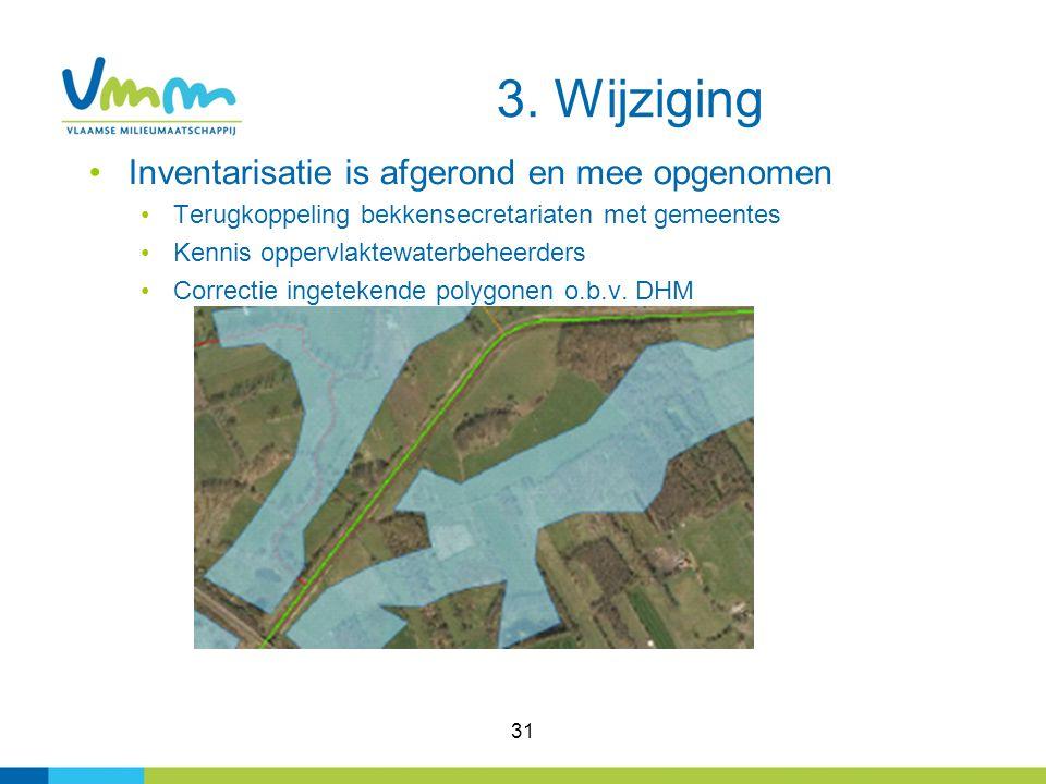 31 Inventarisatie is afgerond en mee opgenomen Terugkoppeling bekkensecretariaten met gemeentes Kennis oppervlaktewaterbeheerders Correctie ingetekend