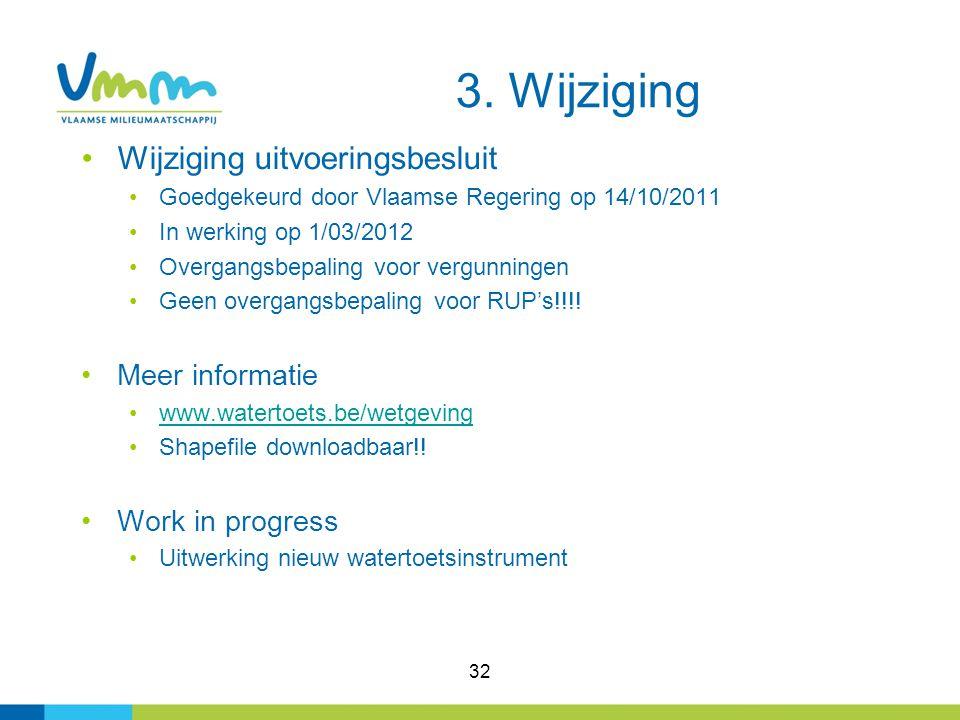 32 Wijziging uitvoeringsbesluit Goedgekeurd door Vlaamse Regering op 14/10/2011 In werking op 1/03/2012 Overgangsbepaling voor vergunningen Geen overg