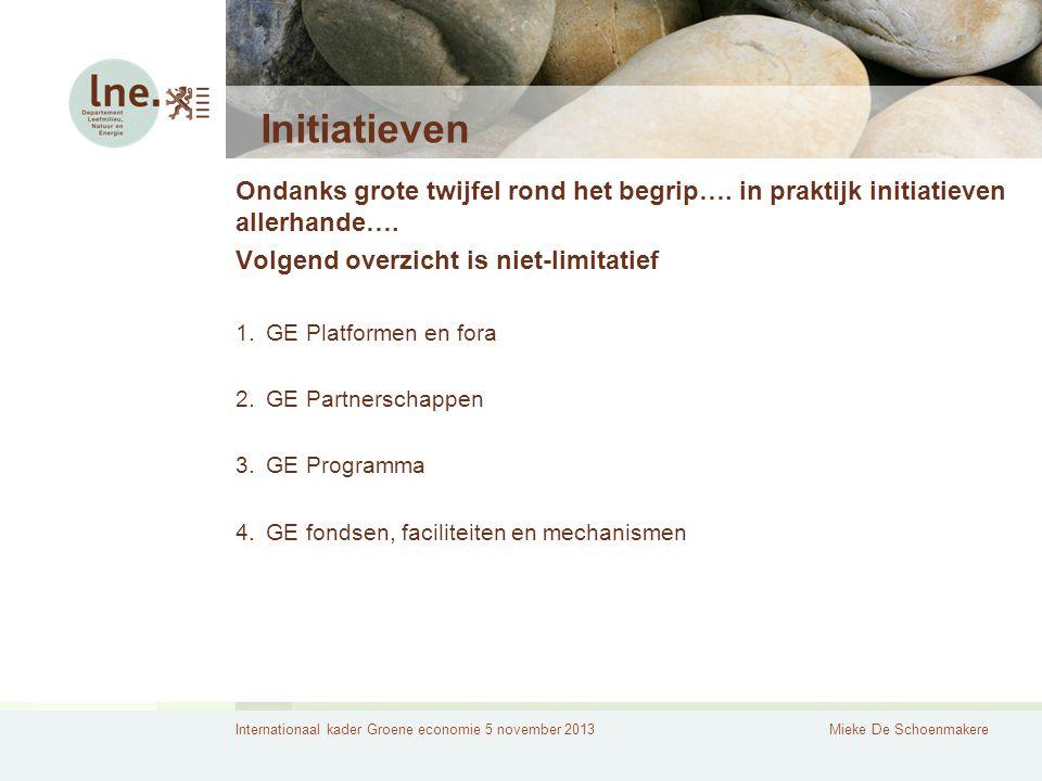 Internationaal kader Groene economie 5 november 2013Mieke De Schoenmakere Initiatieven Ondanks grote twijfel rond het begrip…. in praktijk initiatieve