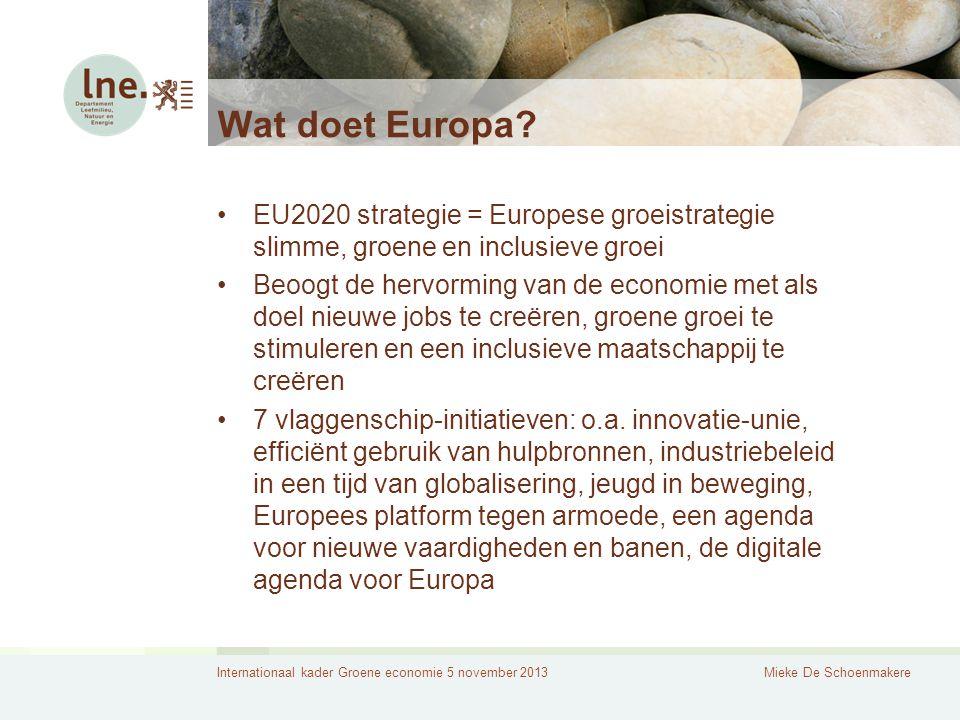 Internationaal kader Groene economie 5 november 2013Mieke De Schoenmakere Wat doet Europa? EU2020 strategie = Europese groeistrategie slimme, groene e