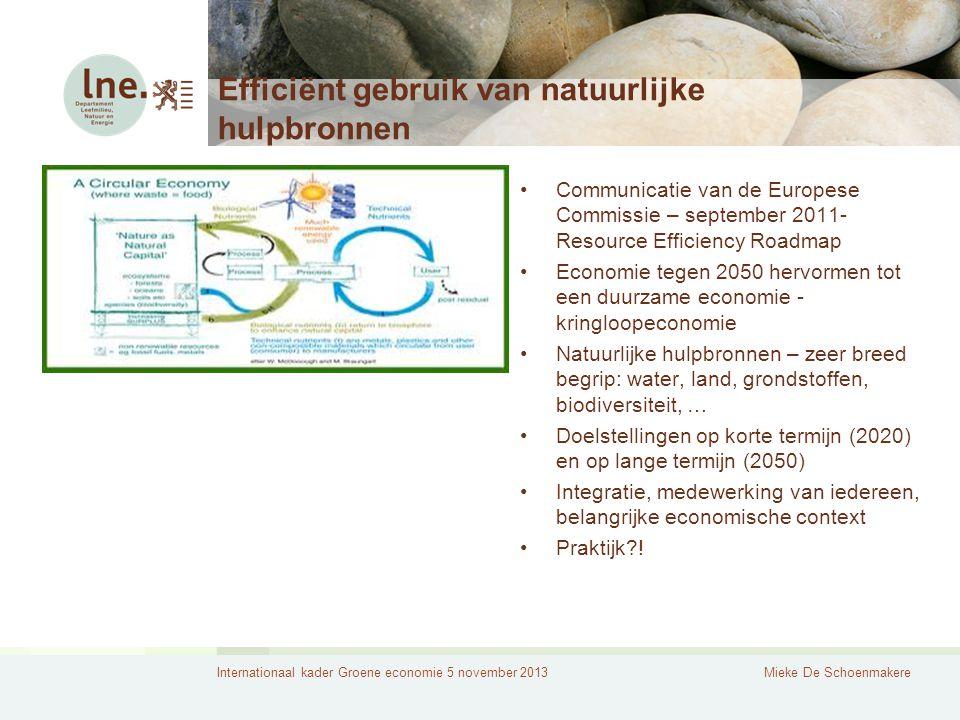 Internationaal kader Groene economie 5 november 2013Mieke De Schoenmakere Efficiënt gebruik van natuurlijke hulpbronnen Communicatie van de Europese Commissie – september 2011- Resource Efficiency Roadmap Economie tegen 2050 hervormen tot een duurzame economie - kringloopeconomie Natuurlijke hulpbronnen – zeer breed begrip: water, land, grondstoffen, biodiversiteit, … Doelstellingen op korte termijn (2020) en op lange termijn (2050) Integratie, medewerking van iedereen, belangrijke economische context Praktijk !