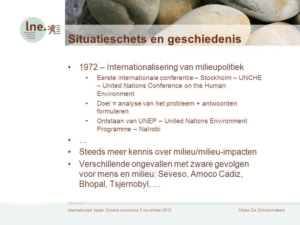 Internationaal kader Groene economie 5 november 2013Mieke De Schoenmakere Situatieschets en geschiedenis 1972 – Internationalisering van milieupolitie