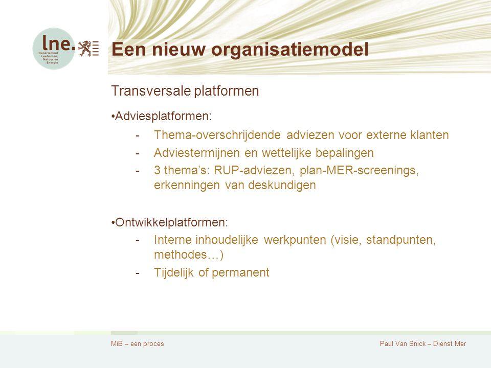 MiB – een procesPaul Van Snick – Dienst Mer Een nieuw organisatiemodel Transversale platformen Adviesplatformen: -Thema-overschrijdende adviezen voor externe klanten -Adviestermijnen en wettelijke bepalingen -3 thema's: RUP-adviezen, plan-MER-screenings, erkenningen van deskundigen Ontwikkelplatformen: -Interne inhoudelijke werkpunten (visie, standpunten, methodes…) -Tijdelijk of permanent