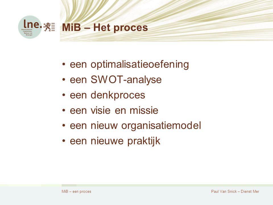 MiB – een procesPaul Van Snick – Dienst Mer Een optimalisatieoefening Er was eens…  Een dienst Mer, verantwoordelijk voor milieueffectrapportage  Een dienst BGP, verantwoordelijk voor de begeleiding van gebiedsgerichte planprocessen