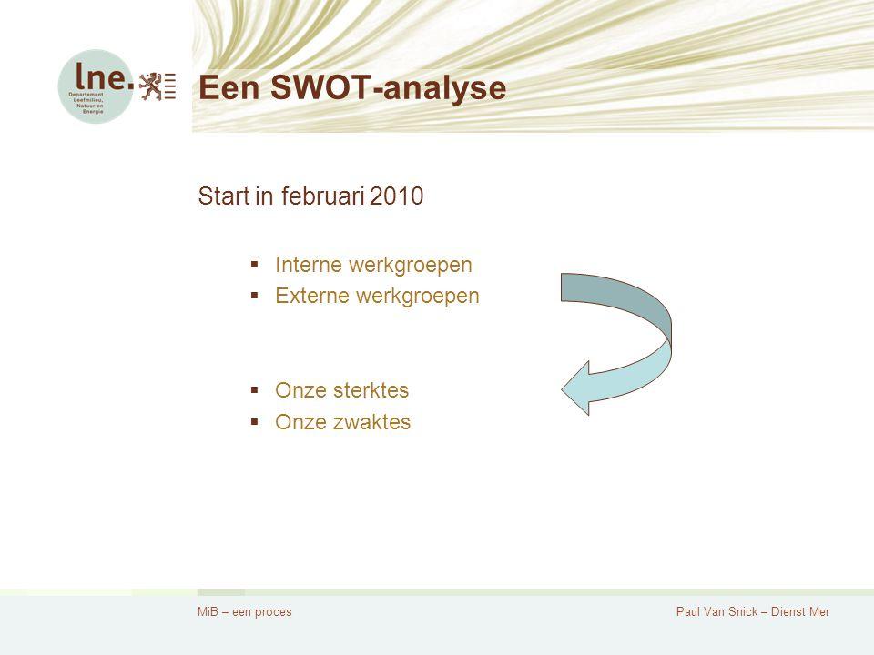 MiB – een procesPaul Van Snick – Dienst Mer Een SWOT-analyse Start in februari 2010  Interne werkgroepen  Externe werkgroepen  Onze sterktes  Onze zwaktes