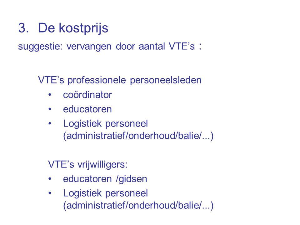 3.De kostprijs suggestie: vervangen door aantal VTE's : VTE's professionele personeelsleden coördinator educatoren Logistiek personeel (administratief