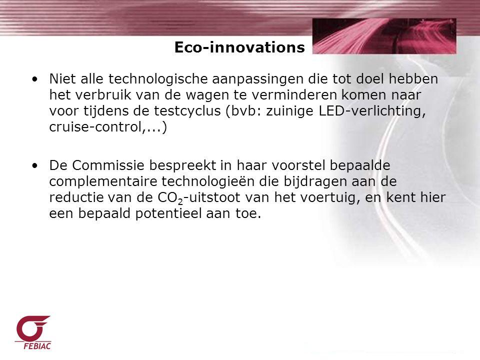 Niet alle technologische aanpassingen die tot doel hebben het verbruik van de wagen te verminderen komen naar voor tijdens de testcyclus (bvb: zuinige LED-verlichting, cruise-control,...) De Commissie bespreekt in haar voorstel bepaalde complementaire technologieën die bijdragen aan de reductie van de CO 2 -uitstoot van het voertuig, en kent hier een bepaald potentieel aan toe.