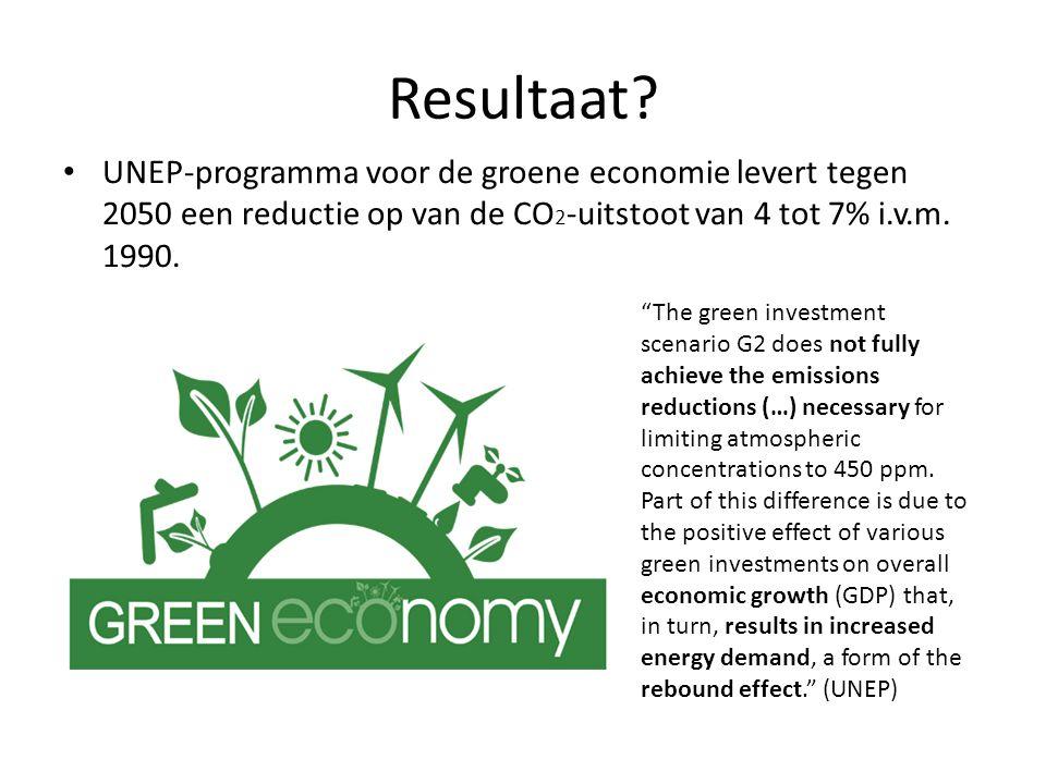 """Resultaat? UNEP-programma voor de groene economie levert tegen 2050 een reductie op van de CO 2 -uitstoot van 4 tot 7% i.v.m. 1990. """"The green investm"""