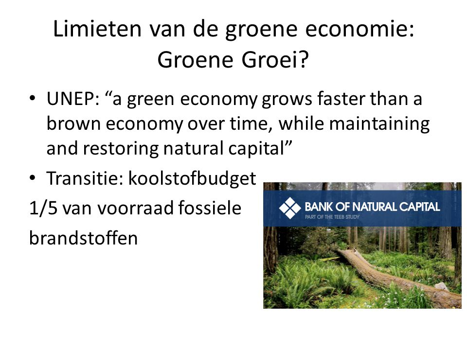 "Limieten van de groene economie: Groene Groei? UNEP: ""a green economy grows faster than a brown economy over time, while maintaining and restoring nat"