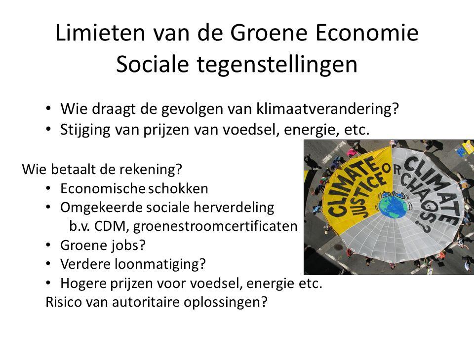 Wie draagt de gevolgen van klimaatverandering? Stijging van prijzen van voedsel, energie, etc. Wie betaalt de rekening? Economische schokken Omgekeerd
