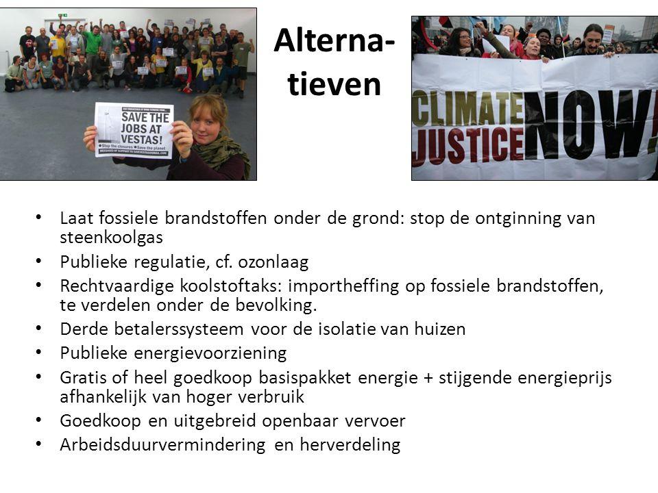 Alterna- tieven Laat fossiele brandstoffen onder de grond: stop de ontginning van steenkoolgas Publieke regulatie, cf. ozonlaag Rechtvaardige koolstof
