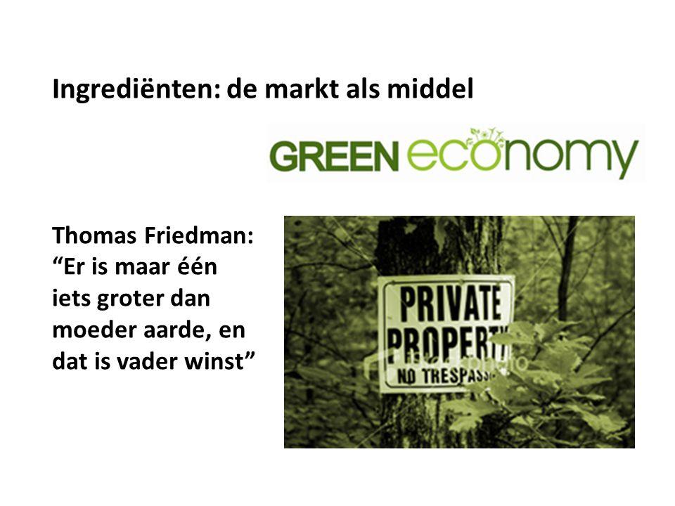 """Thomas Friedman: """"Er is maar één iets groter dan moeder aarde, en dat is vader winst"""" Ingrediënten: de markt als middel"""