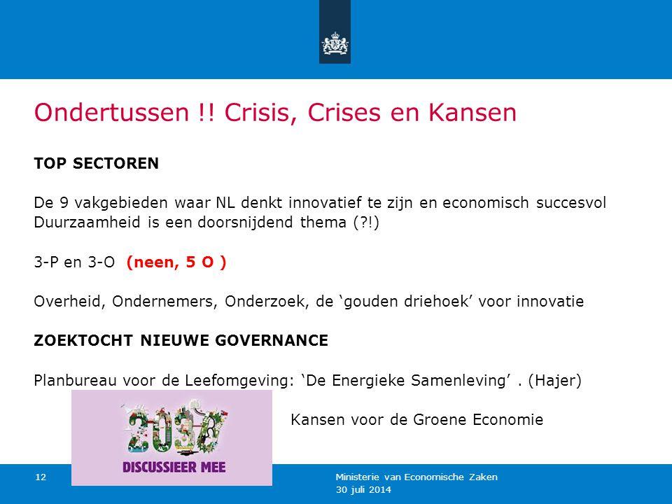 30 juli 2014 Ministerie van Economische Zaken 12 Ondertussen !! Crisis, Crises en Kansen TOP SECTOREN De 9 vakgebieden waar NL denkt innovatief te zij