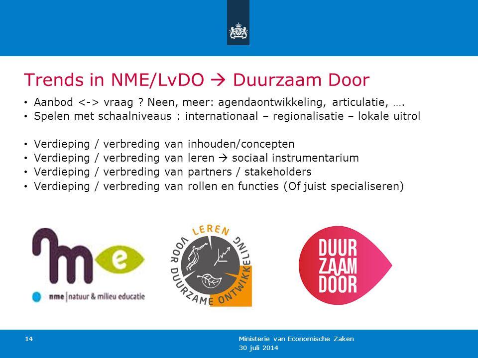 30 juli 2014 Ministerie van Economische Zaken 14 Trends in NME/LvDO  Duurzaam Door Aanbod vraag ? Neen, meer: agendaontwikkeling, articulatie, …. Spe